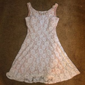 Cream Ivory Lace Necklace Dress Holiday Party 9